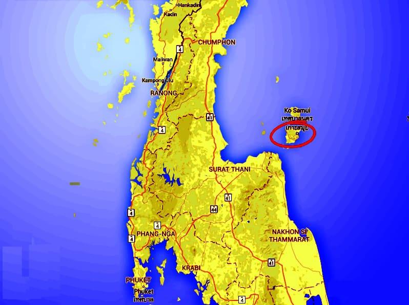 map of Koh Samui Thailand