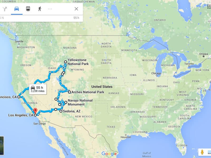 USA Road Trip Traveling Lifestyle - Western us road trip map