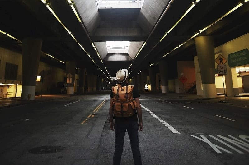 backpacker in the city